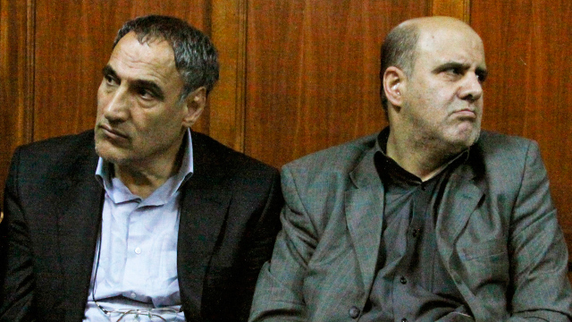 PHOTO: Iranian nationals Sayed Mansour Mousavi, left, and Ahmad Abolfathi Mohammad, right, are seen in this June 27, 2012 file photo in the Nairobi magistrates court