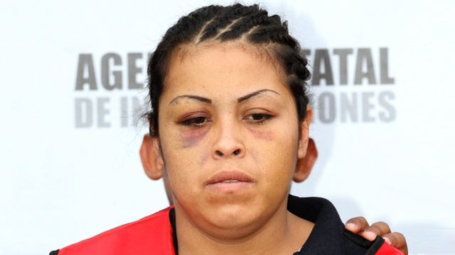 "PHOTO: In this photo taken Monday, May 7, 2012, Maria Jimenez, nicknamed ""La Tosca,"" or ""the rough one"" is presented to the media in Monterrey, Mexico."