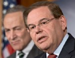 PHOTO: Sen. Robert Menendez, D-N.J., join a bipartisan group of leading senators to announce that they have reached agreement on the principles of sweeping legislation to rewrite the nations immigration laws, Washington DC, Jan. 28, 2013.