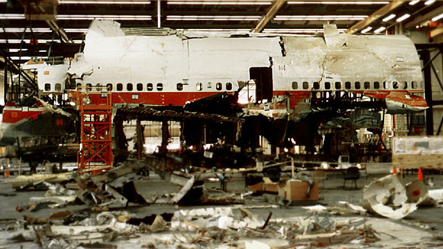 PHOTO: Reconstruction work was taking place in Calverton, N.Y., on TWA Flight 800 which cra