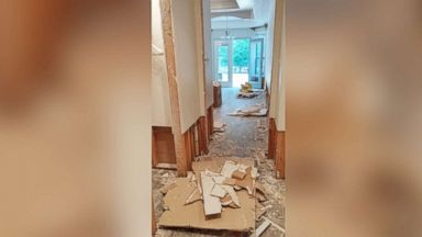 PHOTO: Micky and George Hartzs house only took on 1-2 inches of water in a flood, but they had to remove two feet of drywall and insulation.