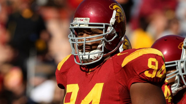 PHOTO: Defensive tackle Armond Armstead #94 of the USC Trojans waits for play against the Arizona State Sun Devils on October 10, 2008 at the Los Angeles Coliseum in Los Angeles, Calif., Armstead played for the Trojans 2008-2010.