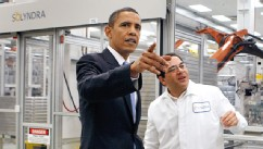 PHOTO: President Barack Obama touring Solyndra