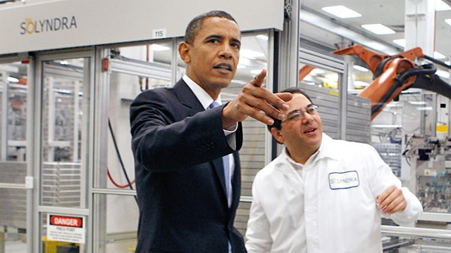 President Barack Obama tours the Solyndra solar panel company with ...