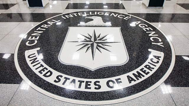 PHOTO: CIA seal in foyer of CIA headquarters