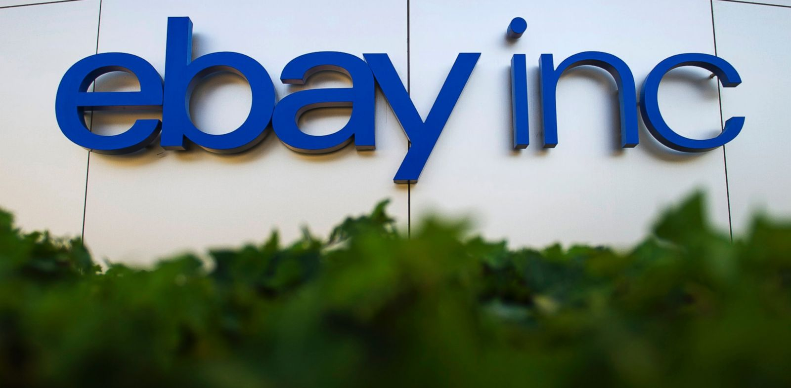 PHOTO: EBay Inc. signage is displayed outside the companys north campus in San Jose, California, U.S., Aug. 13, 2013.