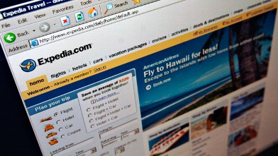 PHOTO: The Expedia.com home page is pictured on a computer screen.