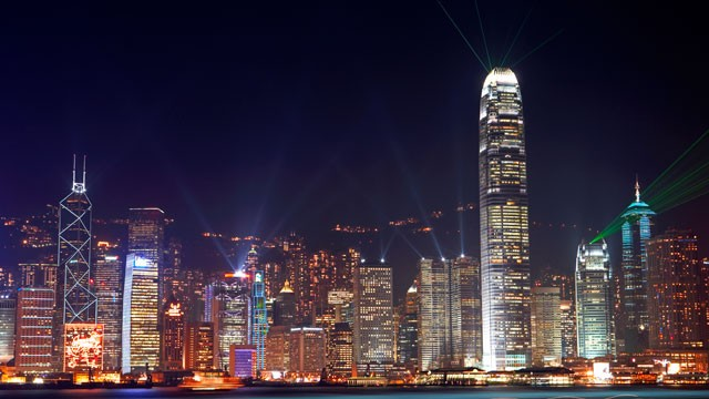 PHOTO: China, Hong Kong, skyline at night.