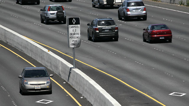 "PHOTO: A Toyota Prius with a California ""clean air vehicle"" sticker drives in the carpool lane on highway 101, May 6, 2011 in San Rafael, Calif."