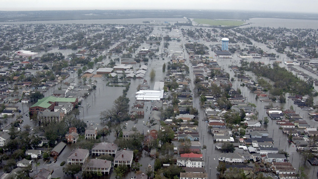 PHOTO: Flooded neighborhoods can be seen as the Coast Guard conducts