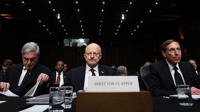 PHOTO: FBI Director Robert Mueller, Director of National Intelligence James Clapper and CIA Director David Petraeus appear before the Senate Select Committee on Intelligence on Capitol Hill on Jan. 31, 2012 in Washington, DC.