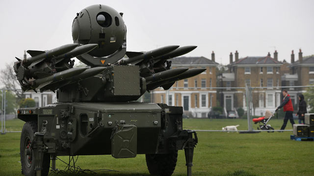 PHOTO: A Rapier Missile Battery, which has been deployed next to residential housing at Blackheath on May 3, 2012 in London, England, will be used as part of the security plan for the Olympics in August.