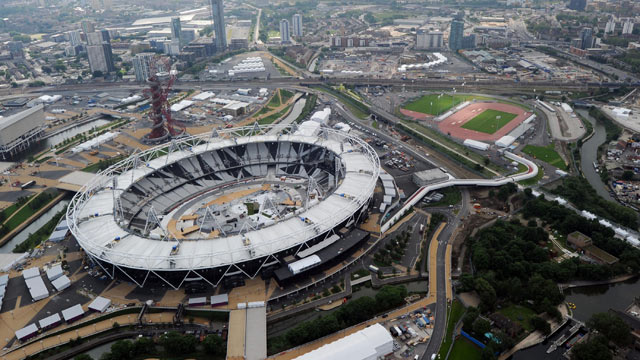 PHOTO: An aerial view of The London Olympic Stadium and Park, June 14, 2012 in London, England.