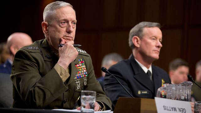 PHOTO: Marine Gen. James Mattis, commander, U.S. Central Command, left, and Navy Adm. William McRaven, commander, U.S. Special Operations Command, listen during a Senate Armed Services committee hearing on Capitol Hill on March 5, 2013, in Washington.