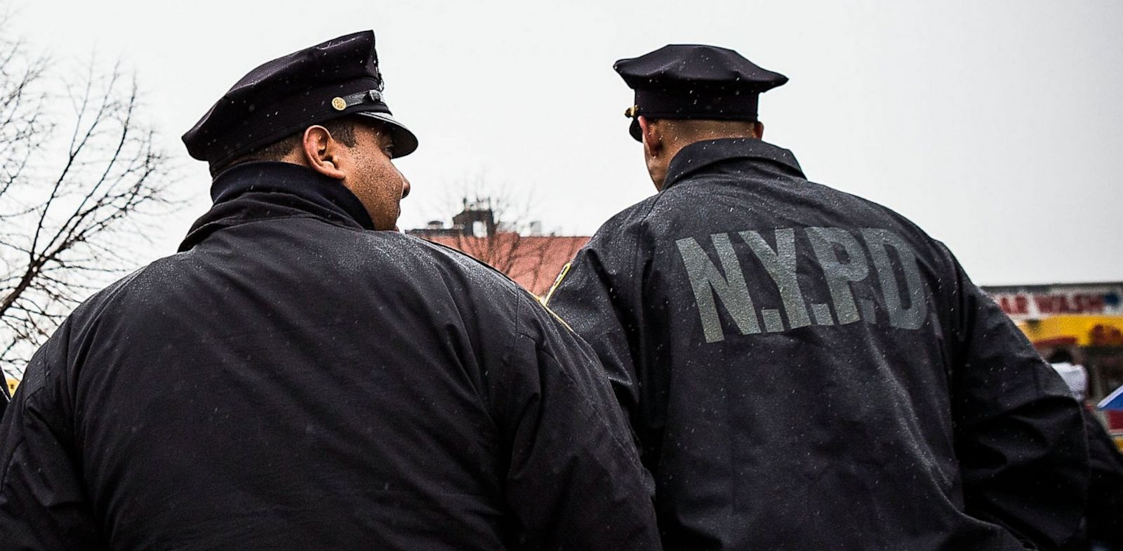 PHOTO: New York Police Department officers monitor a march against stop-and-frisk tactics used by police on February 23, 2013 in New York City.
