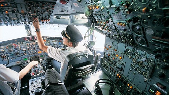 PHOTO: Pilots in cockpit