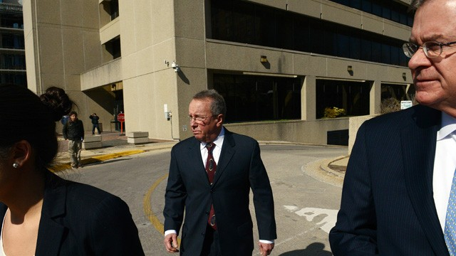 PHOTO: Former local swim coach Rick Curl, 63, center, leaves the Montgomery County Circuit Court after entering a guilty plea for child sexual abuse for a relationship, starting in 1983, with a swimmer he was coaching.