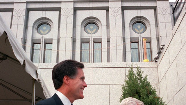 Mitt Romney is pictured after a tour of the Massachusetts Temple of ...