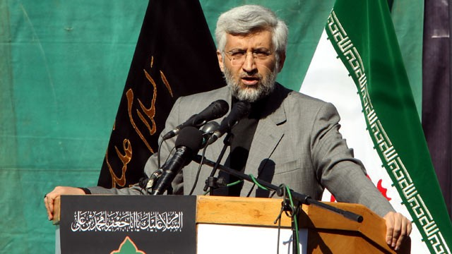 PHOTO: Irans top national security official, Saeed Jalili, speaks outside the former US embassy during a rally  to mark the storming of the American embassy by Iranian students 32 years ago, Tehran, Iran Nov.4, 2011.