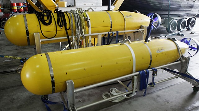 PHOTO: Autonomous Underwater Vehicles, seen aboard a High Speed Vessel are being tested by the US Military.