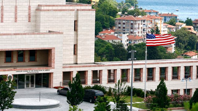 PHOTO: A flag flies outside the U.S consulate in Istanbul, Turkey, July 9, 2008.