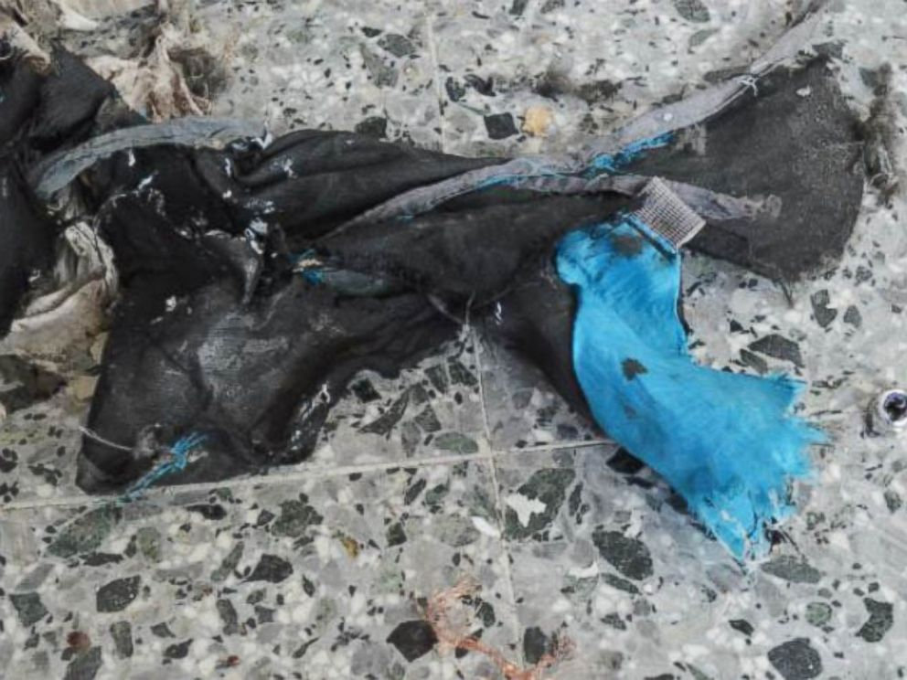 PHOTO: Remnants of the backpack Abedi likely used to carry the device on the train.