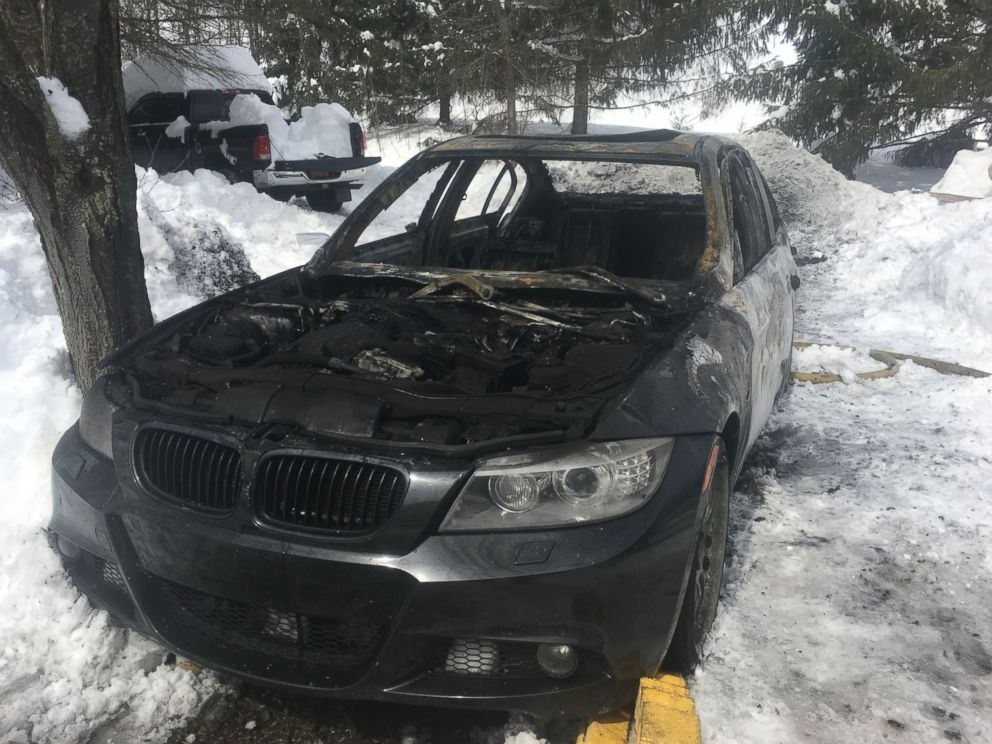 PHOTO: Oscar and Sarah Day lost their 2011 BMW 3-series when it ignited in their driveway. They said that they had not driven the car since the night before.