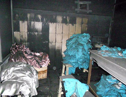 After the fire, labor activists entered the factory and found unburned clothing.