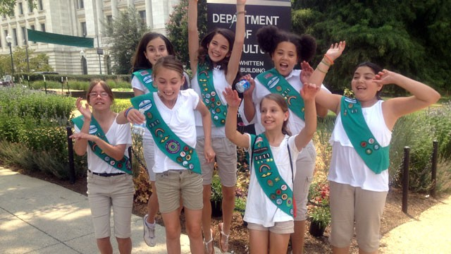 PHOTO: Girl Scouts from Troop 6811 of Sandy Spring, Maryland celebrate after meeting with a high-ranking official of the Agriculture Department.