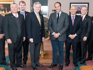 Moammar Gadhafi?s son Khamis meets U.S. business executives at the Port of Houston in Texas just a month before a popular revolution threatened to topple his regime.