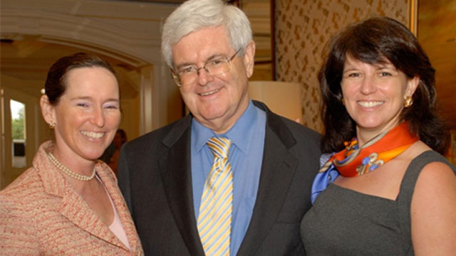 PHOTO: Republican Presidential candidate Newt Gingrich is seen with his daughters, Kathy Lubbers, left, and Jackie Cushman, right, in this undated file photo.