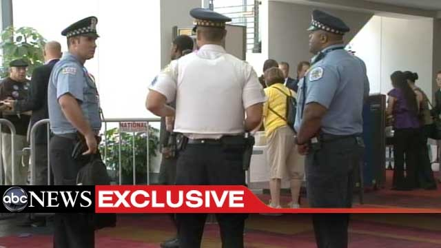 PHOTO: Mayor Rahm Emanuel brought dozens of Chicago police officers with him to Charlotte to work security at the Democratic National Convention. Some are seen here Monday morning in the Convention Center atrium.