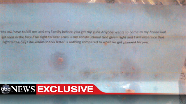 PHOTO: ABC News obtained images of one of the threatening, possibly ricin-laced letters sent t