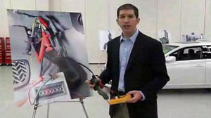 Matthew Schwall, managing engineer of Exponent?s Vehicle Engineering, shows a rewired accelerator pedal in a video posted Mar 8, 201