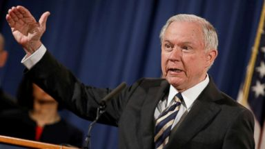 PHOTO: Attorney General Jeff Sessions announces the results of the national health care fraud takedown during a news conference at the Justice Department in Washington, July 13, 2017.