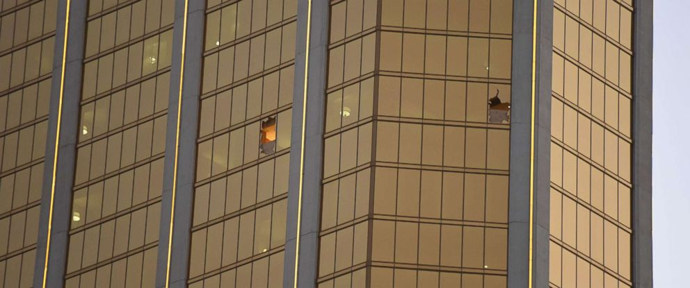 PHOTO: Broken windows that Stephen Paddock fired from at the The Mandalay Bay Hotel and Casino in Las Vegas, Oct. 4, 2017.