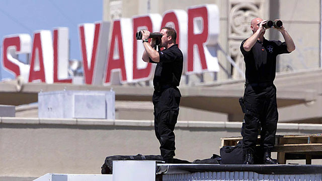 PHOTO: US secret service snipers, who were in place for US President at the El Salvador International Airport in Camalapa, El Salvador, in this file photo.