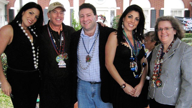 PHOTO: From left: Natalie Khawam, Gen. David Petraeus, Scott Kelley, Jill Kelley and Holly Petraeus watch the Gasparilla parade, Jan. 30, 2010.