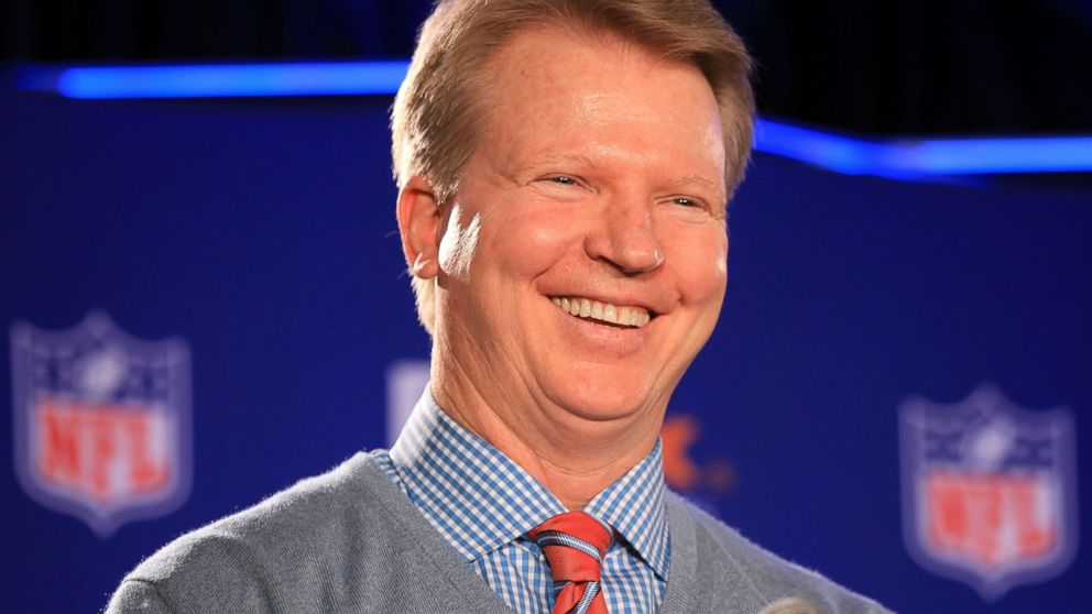 PHOTO: Phil Simms speaks during a press conference at the J.W. Marriott Indianapolis, Feb. 1, 2012, in Indianapolis, Indiana.