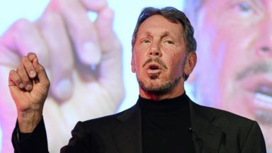 PHOTO: Larry Ellison, CEO of Oracle Corporation, makes a speech in Tokyo on April 9, 2014.