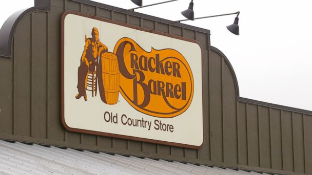 PHOTO: A Cracker Barrel Old Country Store sign is visible atop one of its restaurant stores in this April 12, 2002 file photo taken in Naperville, IL.
