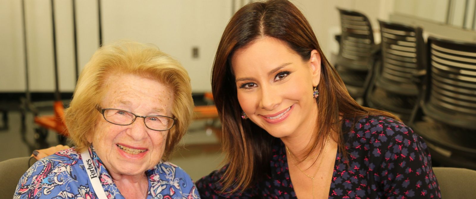 "PHOTO: Dr. Ruth Westheimer joins ABC News Rebecca Jarvis on an episode of ""Real Biz with Rebecca Jarvis"""