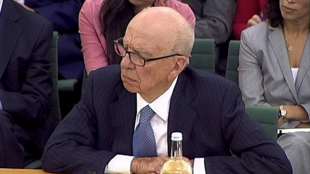 VIDEO: Rupert Murdoch and James Murdoch testify to Parliament about hacking scandal.