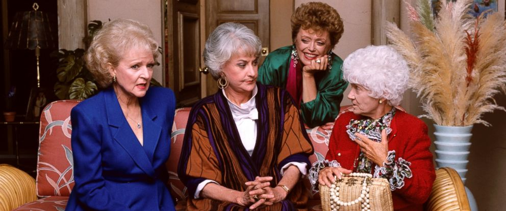 "PHOTO: Betty White, Bea Arthur, Rue McClanahan and Estelle Getty appear on the TV show ""Golden Girls""."