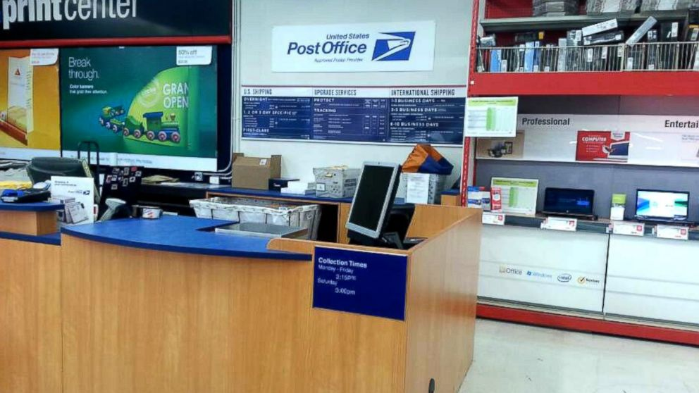 A USPS retail center within a Staples store in Campbell, Calif., sits empty,