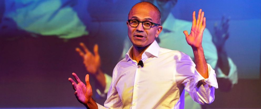 PHOTO: Microsoft Chief Executive Officer Satya Nadella speaks to students in New Delhi in this Sept. 30, 2014, file photo.