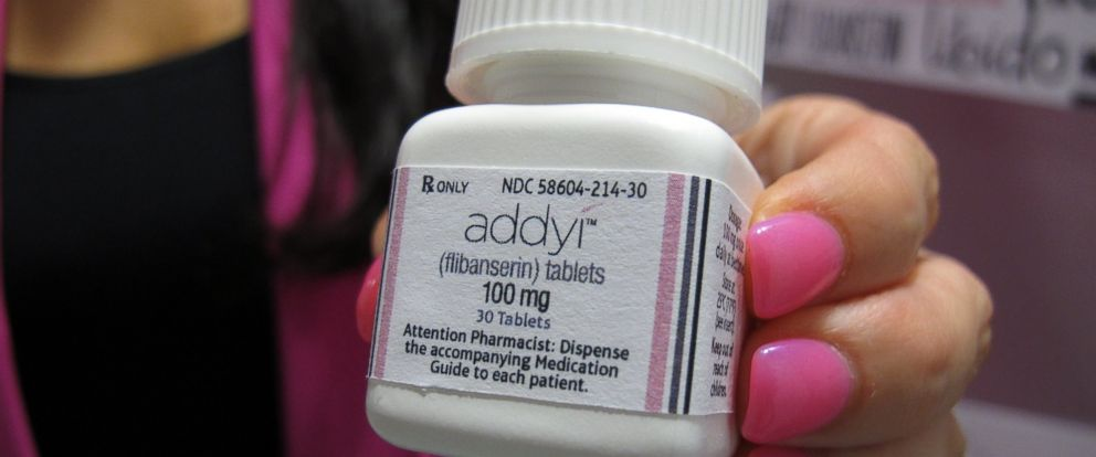 PHOTO:Sprout Pharmaceuticals CEO Cindy Whitehead holds a bottle for the female sex-drive drug Addyi, Aug.15, 2015, at her Raleigh, N.C., office.