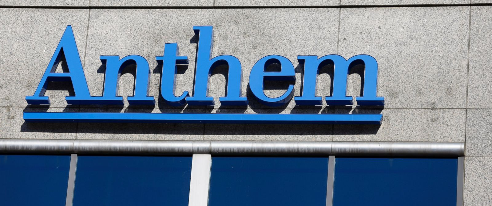 PHOTO: The Anthem logo hangs at the health insurers corporate headquarters in Indianapolis on Feb. 5, 2015.