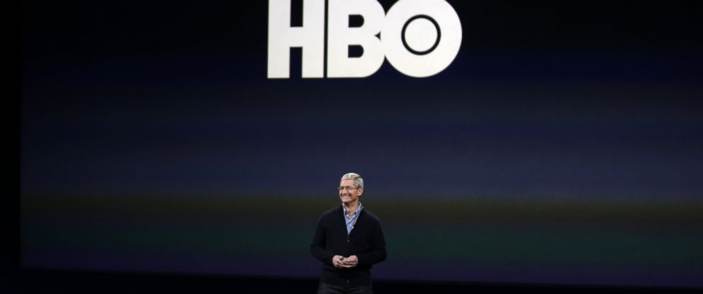 PHOTO: Apple CEO Tim Cook talks about HBO during an Apple event in San Francisco, March 9, 2015.