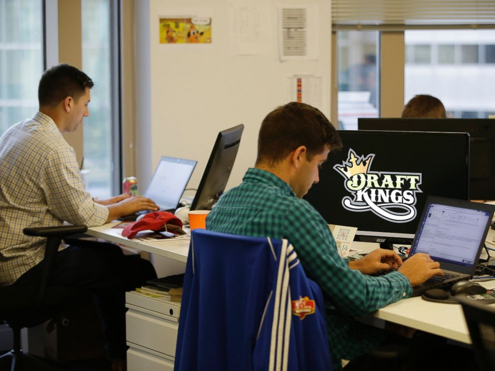 PHOTO:Bear Duker, a marketing manager for strategic partnerships at DraftKings, a daily fantasy sports company, works at his computer in Boston, Sept.9, 2015.